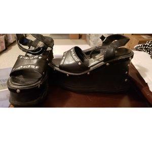 Shoes - Black leather platform wedge Shoes size 5